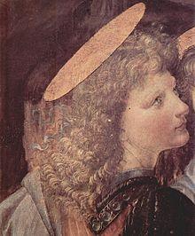 L'Angelo di Leonardo, dettaglio dal Battesimo di Cristo di Andrea del Verrocchio