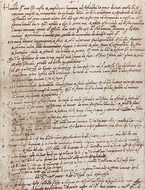 Il curriculum di Leonardo Da Vinci